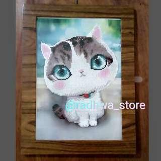 Murah Lukisan Berlian Jadi Motif Kucing Lucu Sparkling