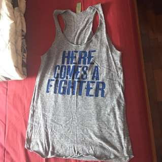 New - Here comes a fighter grey tank size M (from Etsy)