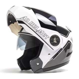White Black Full Face Flip Up Motorcycle Bike Modular Helmet with Double Inner Lens