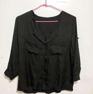 黑色雪紡襯衫