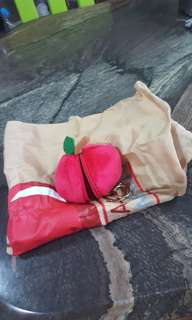 Foldable bag inside a Peach Keychain