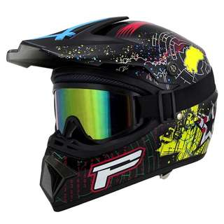 Black Multi Colour Patterned Full Face Motorcycle Helmet Scrambler Motorcross Motocross Scrambler Off Road Dirt Bike