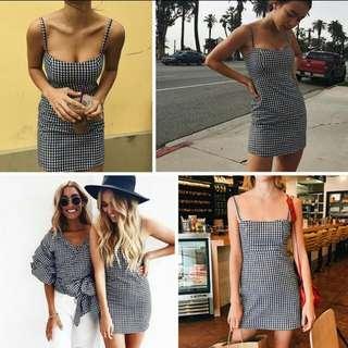 🐾 bodycon checkered spag dress
