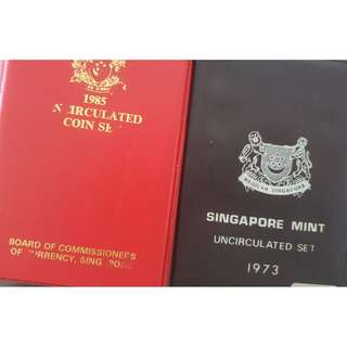 Singapore 1973 & 1985 Uncirculated Wallet Coin Set Ox