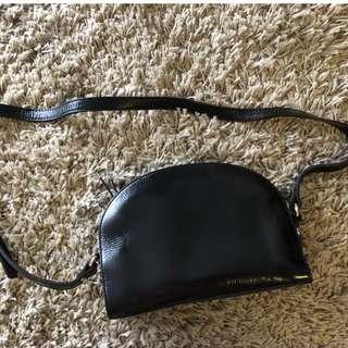 Women's Semi circle Crossbody Leather Bag from Korea
