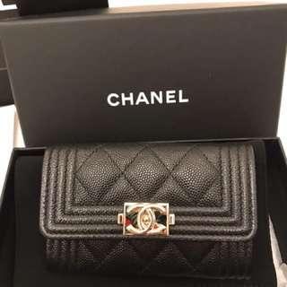 Chanel boy 黑荔枝 淡金扣 卡夾