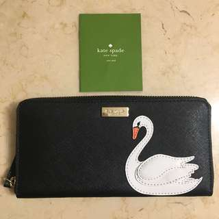Brand new Kate Spade black swan leather long wallet