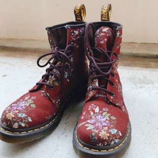 Dr Martens Boots Cherry Red Vintage Floral boots