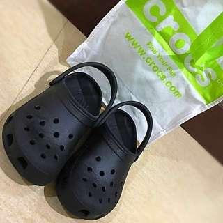 Authentic Crocs Plain Black Size 2 or J2
