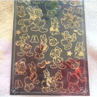 日本版 - 日本製迪士尼燙金透明底膠面貼紙 Disney Bronzing Brilliant Sticker (Donald Duck Daisy 唐奴鴨)