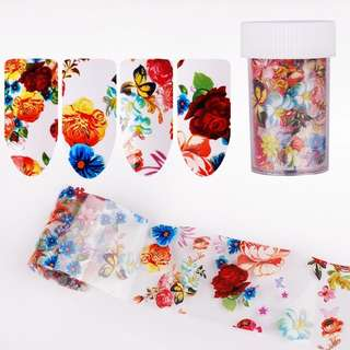 BORN QUEEN Peony Flower Starry Sky Nail Foil Sticker Colorful Floral Transfer Decal Paper Manicure Nail Art Decoration