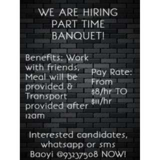 Banquet Servers Wanted @ Promenade | $9 per hour | Can work with friends