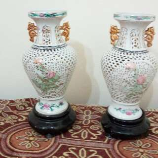 Porcelain Lotus Twins Vases