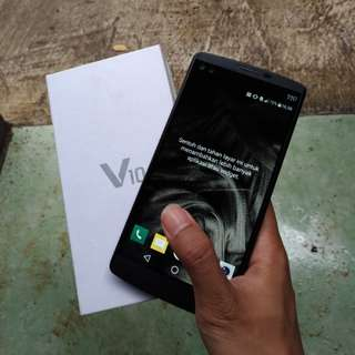 LG V10 Black Fullset Preloved Mulus 95%