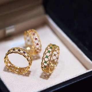 18K古典蕾絲彩寶鑽石戒指