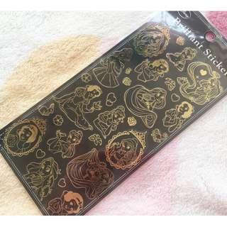 日本版 - 日本製迪士尼燙金透明底膠面貼紙 Disney Bronzing Brilliant Sticker (Snow white Rapunzel  )