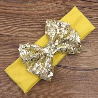 Sunflower Yellow Headband with Sequin Bow