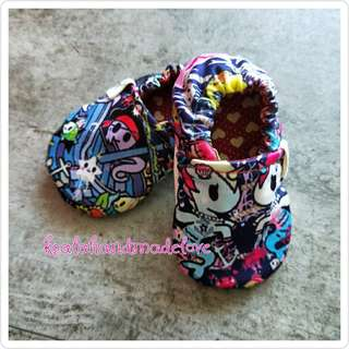 Seapunk-inspired print Baby Shoes (made to order)