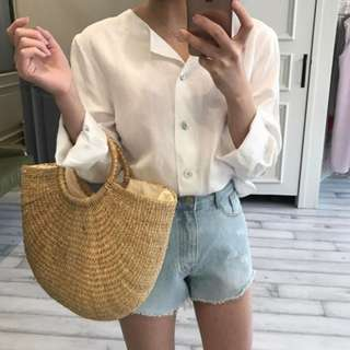 STRAW WOVEN BAG WITH ROUND HANDLES