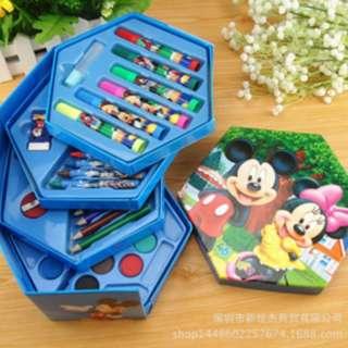 4 in 1 Crayon Set 4 tingkat isi 46 pcs crayon alat menggambar - ASY003 - Cars