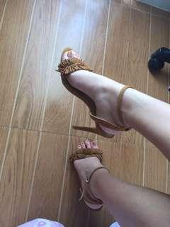 Parisian fringe suede heels