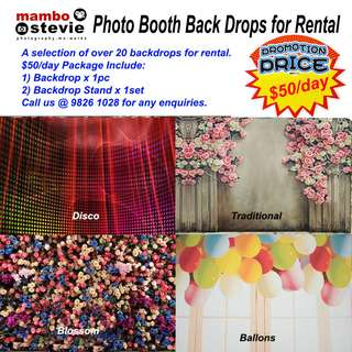 Backdrop Rental: Photobooth high-quality backdrops or backgrounds or backdrop stand for Rent