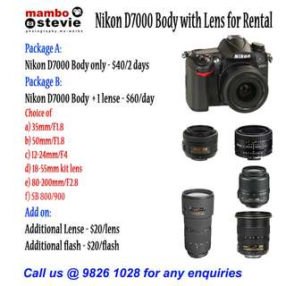Camera Rent: Nikon D7000 DSLR Camera & Lens Rental