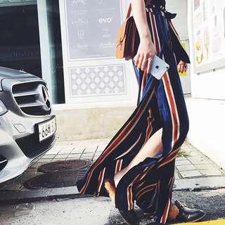 Striped Slit Pants