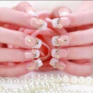 24pcs/Set Luxury Rhinestone Flora Bride Nail Art Tips Full Cover Glitter French False Nails with Glue Fingernail Tool  Fake Nail