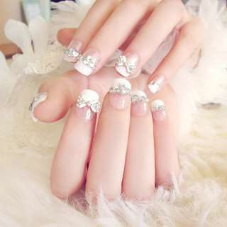 24pcs/Set Pretty Bowknot Rhinestone Wedding Bride Nail Art Full Cover French False Nails with Glue Fake Nail Decoration Tool