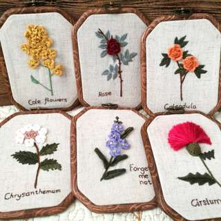 Hand Embroidered Flower Wall Hanging