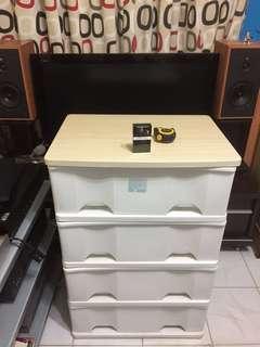四格大容量膠櫃桶(實木板面)(新淨)😘