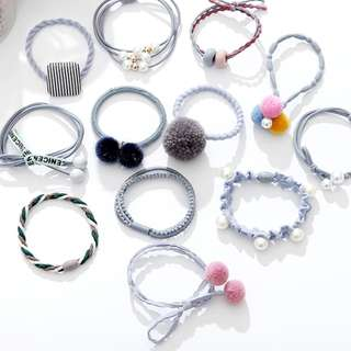 Korea Rope Tie/Elastic Rubberband - 12pcs for 13.99 ONLY - all items in the pic for 13.99 ONLY - Blue Set