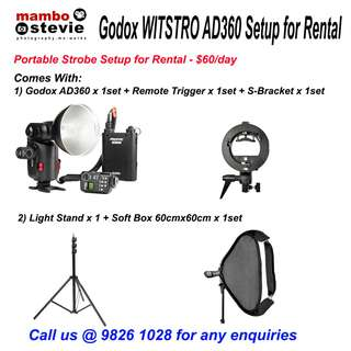 Strobe Rental: Godox AD360 Strobe Speedlight Flashlight setup