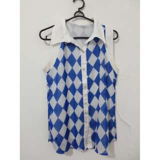 Blue White Diamond Top