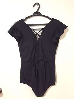 Black Swimsuit with Semi Sleeves