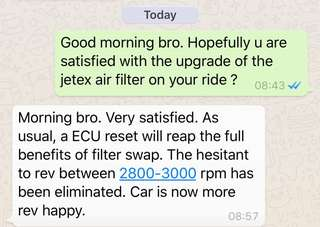 Great to have another happy Volvo S60 Owner after the upgrade of the jetex high flow performance drop in air Filter which is 99% filtration at 2.8 microns washable and reusable ...