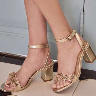 SALE: TheClosetLover - Ellis Heels in Gold. WORN ONCE