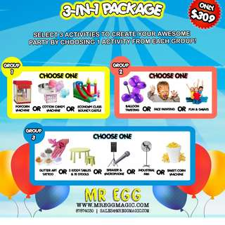 AWESOME 3 IN 1 PARTY PACKAGE