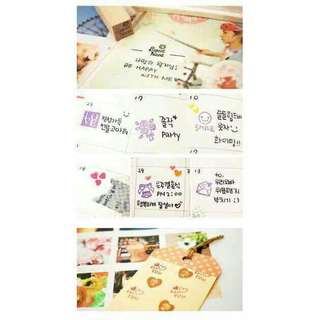 Korean diary stamp set with ink pad wooden 25pcs.