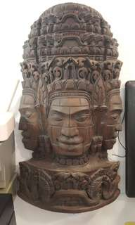 Great artwork !!! Rosewood carving 3 head Buddha
