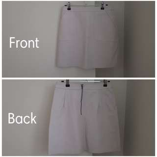 Glassons Cream Leather Look Skirt