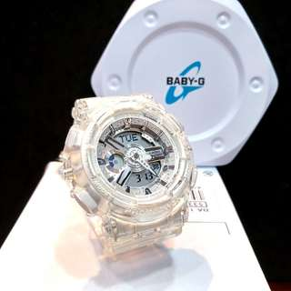 * FREE DELIVERY * Brand New 100% Authentic Casio BabyG Jelly White Baby G Ladies Watch Baby-G BA110CR 7 BA110CR-7ADR