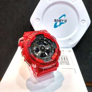 * FREE DELIVERY * Brand New 100% Authentic Casio BabyG Red Jelly Baby G Ladies Watch Baby-G BA110CR 4 BA110CR-4ADR