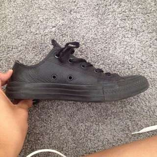 Black Leather Converse Size 6