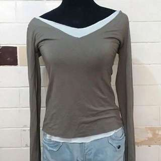 Army green cotton top