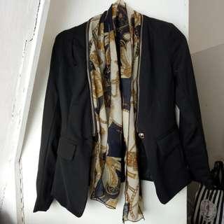 Black blazer with detachable scarf