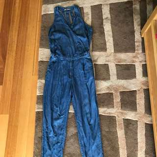 pull and bear denim jumpsuit/overalls