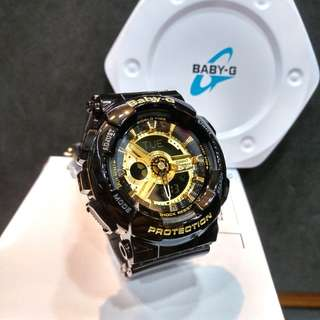 * FREE DELIVERY * Brand New 100% Authentic Casio BabyG Black Gold Baby G Ladies Watch Baby-G BA110 1 BA110-1ADR