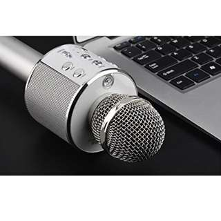 LED Light K51 Bluetooth Wireless Condenser Magic Karaoke Microphone Singing App MIC Speaker Record Echo Music (Silver)